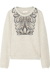 Sass And Bide Changing Times Embellished Cotton French Terry Sweatshirt Gray