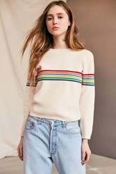 Urban Renewal Vintage 70'S Tan Rainbow Striped Sweater Assorted