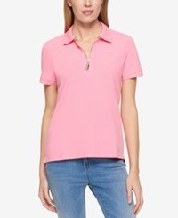 Tommy Hilfiger Zip Up Polo Top Only At Macy's Peony