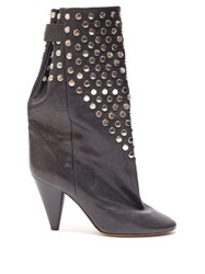 Isabel Marant Lakfee Studded Leather Boots Black Silver