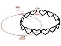 Guess Heart Choker And Dainty Chain With Heart Pendant Necklace Set Rose Gold Jet Necklace