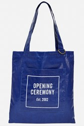 Opening Ceremony Laminated Linen Eco Tote Bag Blue