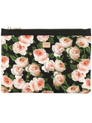 Dolce And Gabbana Floral Print Make Up Bag Black
