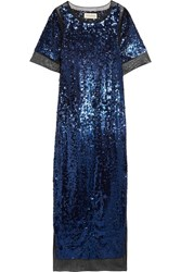 By Malene Birger Lines Sequined Stretch Mesh Maxi Dress Blue