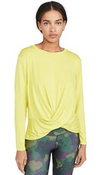 Terez Twist Front Long Sleeve Top Neon Green Chartreuse