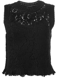 Ermanno Scervino Floral Lace Tank Top Black