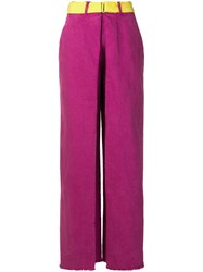 Aalto Belted Wide Leg Jeans Pink And Purple
