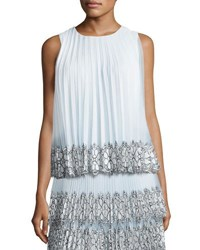 Christopher Kane Sleeveless Pleated Tulle Lace Top White Blue White Blue