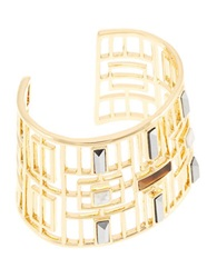 Trina Turk Open Work Stone Cuff Bracelet Tiger Eye