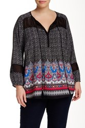 Daniel Rainn Crochet Inset Tie Solid Blouse Plus Size Multi