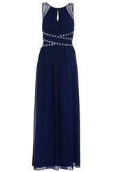 Quiz Navy Embellished Keyhole Maxi Dress Navy