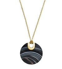 Michael Kors Gold Tone Black Agate Pendant Necklace