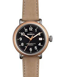 Shinola 38Mm Runwell Two Tone Coin Edge Watch W Leather Strap Brown