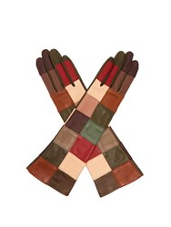 Agnelle Angelina Leather Patchwork Gloves Multi