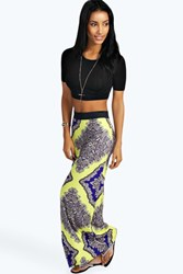Boohoo Petite Joanna Large Baroque Print Maxi Skirt Yellow