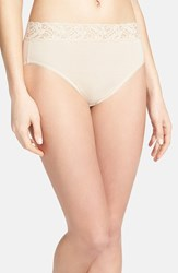 Women's Wacoal 'Cotton Suede' Lace Trim High Cut Briefs Naturally Nude