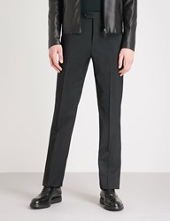 Emporio Armani G20 Tailored Fit Straight Wool Trouses Black