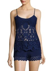 In Bloom Las Flores Lace Camisole And Pajama Shorts Navy