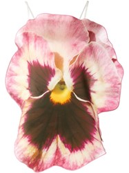Christopher Kane Pansy Sleeveless Blouse Pink And Purple
