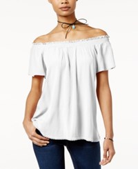 Self Esteem Juniors' Off The Shoulder Peasant Top With Necklace Bright White