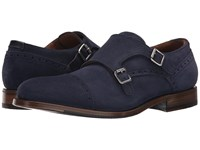Aquatalia By Marvin K Fallon Navy Dress Suede Men's Monkstrap Shoes Blue