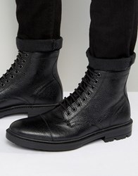 Asos Lace Up Boots In Black Scotchgrain Leather With Toe Cap Black