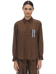 Burberry Tb All Over Printed Mulberry Silk Shirt Brown