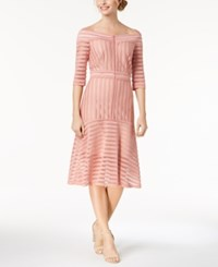 Jax Off The Shoulder Shadow Stripe Dress Pink