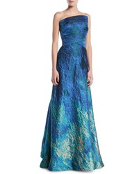 Rene Ruiz Strapless Textured Ball Gown Turquoise