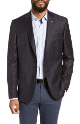Ted Baker London Jay Trim Fit Plaid Wool Sport Coat Navy
