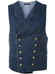 Ermanno Gallamini Metallic Embellished Waistcoat Women Cotton Linen Flax L Blue