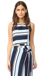 J.O.A. Stripe Blouse Navy Blue White