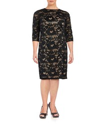 Adrianna Papell Lace Sheath Dress Black Pink