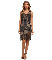 Unique Vintage 1920'S The Bosley Beaded Flapper With Beaded Fringe Dress Black Gold Women's Dress