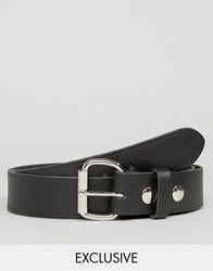 Reclaimed Vintage Leather Roller Buckle Belt Black Black