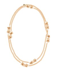 Lydell Nyc Extra Long Matte Beaded Floral Station Necklace Pink