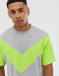 Another Influence Cut And Sew Neon Boxy T Shirt Gray