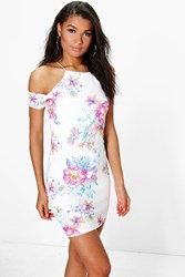 Boohoo Floral Cold Shoulder Strappy Bodycon Dress Ivory