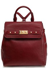 Michael Michael Kors Woman Spiked Textured Leather Backpack Merlot