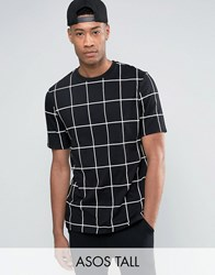 Asos Tall Longline T Shirt With All Over Grid Check Print In Skater Fit Black