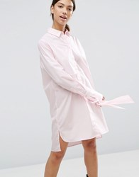 Asos Cotton Shirt Dress With Oversized Cuff And Bow Detail Pink
