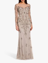 Adrianna Papell Beaded Long Dress Silver