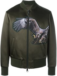 Neil Barrett Eagle Print Bomber Jacket Green