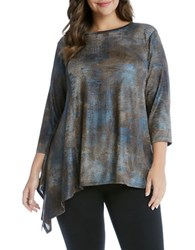 Karen Kane Plus Asymmetrical Hem Top Copper