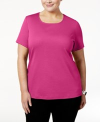 Karen Scott Plus Size Cotton Scoop Neck T Shirt Only At Macy's Wild Punch