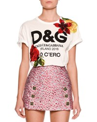 Dolce And Gabbana Floral Embellished Logo Tee White