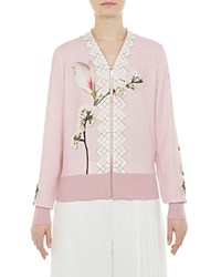 Ted Baker Emylou Harmony Print Zip Cardigan Pale Pink
