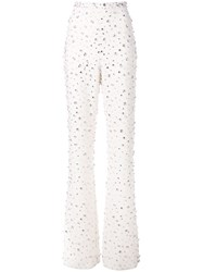 Christian Siriano Embellished Bell Bottom Trousers White