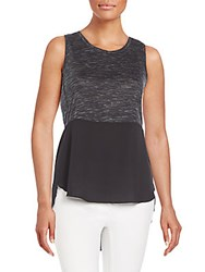 Rd Style Mixed Media Hi Lo Peplum Tank Black