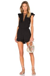 Endless Rose Lace Up Ruffle Romper Black